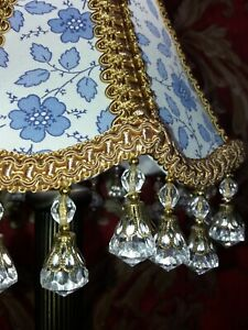 """8"""" Victorian Vintage Corn Flower Blue Gold Glass Table Lampshade Handmade Deco."""