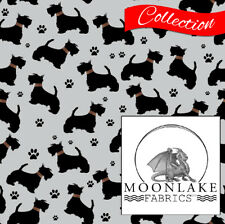 Dog Scottish Terrier Pattern 100% Quality Cotton Poplin Fabric * Exclusive *