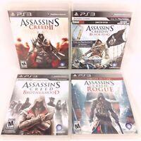 Lot of 4 Playstation 3 Assassin's Creed Games II IV Black Flag Brotherhood Rogue