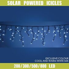 Solar LED Icicle String Lights 200 300 500 800 1000 LED Party Wedding Christmas