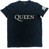 Mens Queen Logo and Crest Applique Motif T-shirt - Unisex Rock Music Tees