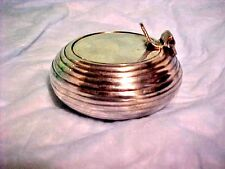 Vintage Round VANITY MAKEUP CONTAINER, SNUFF BOX, ASHTRAY Flip Lid Silver Tone