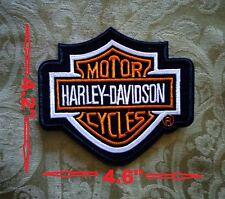 "HARLEY-DAVIDSON Classic Orange Bar & Shield Patch Medium Size Logo 4.6""x 4.2"""