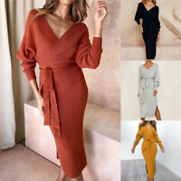 ❤️ Women Casual V Neck Jumper Dress Ladies Winter Long Sleeve Bodycon Midi Dress