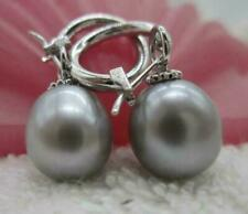 AAA 12-13mm south sea gray natural pearl earring 14k white gold