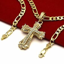 "Men's 14k Gold Plated High Fashion Mini Hollow Pendant 5mm 24"" Inch Figaro chain"