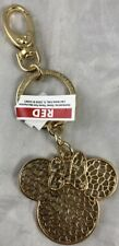 Disney Parks Minnie Mouse Ears Filigree Jeweled Gold Keychain NEW