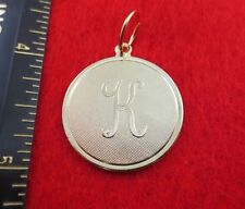 """14 KT GOLD EP LARGE(OVER 1"""") ROUND INITIAL DISC LETTER K PENDANT CHARM"""