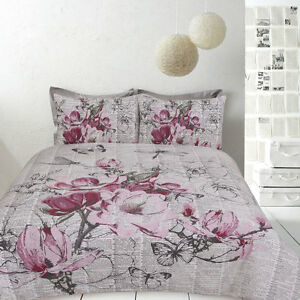 Retro Botanical Blossom Butterfly Quilt Doona Cover Set SINGLE DOUBLE QUEEN KING