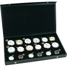 Pocket Watch Display Compartment Tray Case Storage Box Organizer For 18 Watches