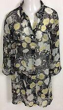 MAGGIE BARNES BLOUSE Women's Plus Size 3X (26/28) Black Floral Sheer Top Tunic