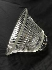 "Vtg Holophane Style Glass Lamp Shade Ribbed Prismatic Pendant 2 1/8 1/4"" x 6.5"""