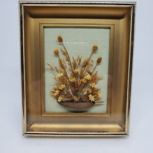 Vintage Dried Flower Nut Seed Pod Gold Framed Shadow Box Picture Hanging Stand