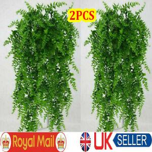 2x Artificial Hanging Plants Fern Trailing Foliage Plastic Flower Leaf Decor UK