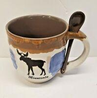Minnesota With Moose  Oversize Coffee Cup Mug W/Spoon Free Shipping