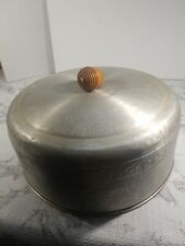 Vintage Aluminum West Bend Cake Plate & Cover w/Wood Acorn Knob Made in USA