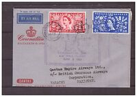 s16120) GREAT BRITAIN 3 JUNE 1953 Air Letter QEII Coronation London Karachi Pak.
