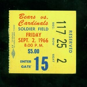1966 (Sept. 2) Chicago Bears ticket stub v. St. Louis Cardinals (VG condition)