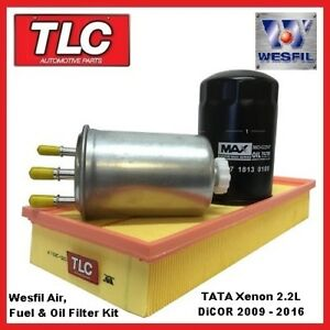 Wesfil Air Oil Fuel Filter Kit TATA Xenon 2.2 DiCOR Diesel 2009 - 10/13