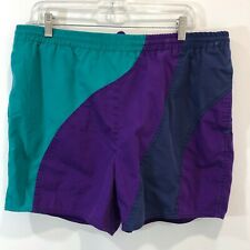 Vintage 90s Swim Trunks Mens Size 38 Aqua Purple Mesh Lined Drawstring Waist