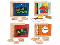 Wooden Learning Game Times Tables Memory Clock Time Addition Letters Tangrams