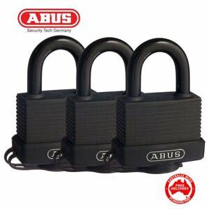 3 x ABUS Keyed Alike Weatherproof Outdoor Padlocks -45mm-Triple Pack-Free Post