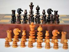 "ANTIQUE CHESS SET ENGLISH ROSEWOOD ST GEORGE PATTERN  K 3""+ NICE FOLDING BOARD"