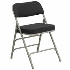 Flash Furniture Hercules Upholstered Metal Folding Chair in Black and Gray