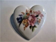 Painted Heart Brooch 1-1/2X2 In.� �Jewelry Garage Sale!� Ceramic Floral