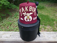 Masonic Shriner Takbir No. 227 Fez with Tassel Camel Pin and Hat Box Temple