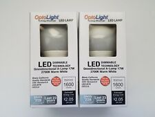2 LED DIMMABLE Light Bulbs 17W (100W Equivalent)1600 Lumens Warm White 2700K