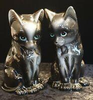 Vintage Pair Of Ceramic Mantle Black Cats.