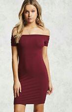 NWT Forever 21 Off-The-Shoulder Burgundy Dress M