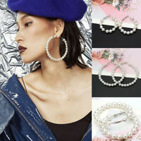 Elegant Womens White Circle Pearl Drop Hoop Dangle Earrings Wedding Jewelry