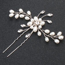Womens Floral Pearls Hair Clip Bridal Barrette Slide Clamps Grips Wedding Clamps