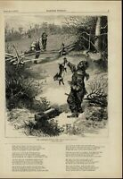 Racist Trapping Rabbit for Christmas Dinner 1874 great old print for display