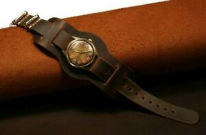 Leather cuff watch band, bund watch strap handmade, 18-24mm Military band brown