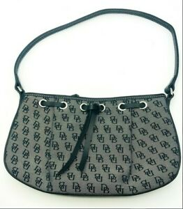 Dooney & Bourke Women's Shoulder Mini Bag Tote Handbag Leather Trim Gray