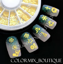 Nail Art Decoration 12 Mixed Design Christmas Glitter Gold Metal Slices #XG