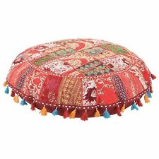 "Red 18"" Handmade Vintage Cotton Ottoman Patchwork Round Floor Cover Stool Art"
