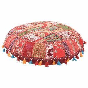 "Red 32"" Handmade Round Floor Cover Vintage Cotton Ottoman Patchwork Stool Art"