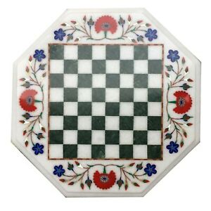"""15"""" Marble Table Top Semi Precious Stone Floral Inlay Art"""