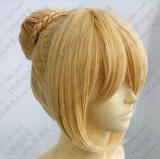 Fate/Zero Saber Cosplay Wig Gold color Clip Bun+Gift Hairnet