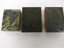 3 Letterpress Ex Libris Book Plates Cut Blocks Lot Alice In Wonderland