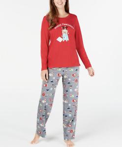 MACY'S Family Pajamas Women's Happy Pawlidays Pajama Set sz M Medium Christmas