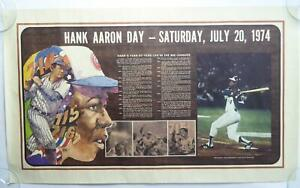 Hank Aaron Day 1974 Vintage Poster Atlanta Braves Milwaukee Poster 18x30