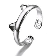 Fashion Silver Cute Cat Kitten Ears Design Adjustable Rings Nice Jewelry Gift