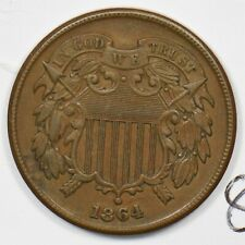 1864 Two Cents Lg motto. AU U0195