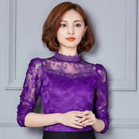 Lady Floral Lace Top Blouse Mesh Slim Fitted T Shirt Pullover Elegant S-5XL Sexy