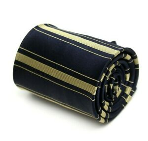 Nautica Necktie Silk Black and Gold Striped Tie 100% Silk 390-399